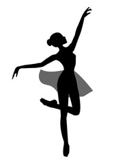 Beautiful ballerina figure on a white background , sketch , vector. Ballet, dance.