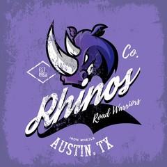 Vintage American rhino bikers club tee print vector design isolated on purple background.  Texas, Austin street wear t-shirt emblem. Premium quality wild animal superior logo concept illustration.