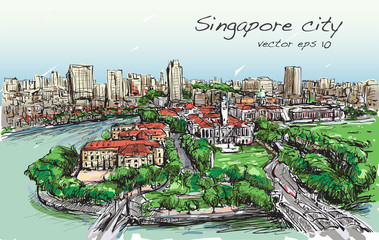 Sketch cityscape of Singapore building skyline, free hand draw illustration  vector