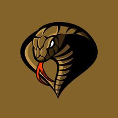 Furious cobra sport vector logo concept isolated on khaki background. Modern military professional team badge design. Premium quality wild snake t-shirt tee print illustration.