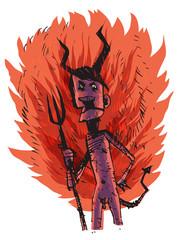 Demon in hellfire. Vector illustration