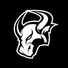 Furious bull sport vector logo concept isolated on dark background. Professional team badge design. Premium quality wild animal t-shirt tee print illustration.