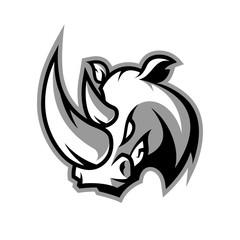 Furious rhino sport vector logo concept isolated on white background. Professional team badge design. Premium quality wild animal t-shirt tee print illustration.