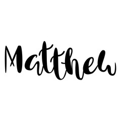 Male name - Mathew. Lettering design. Handwritten typography. Vector