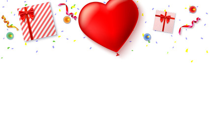 Red inflatable balloon in the shape of a heart with gift boxes, candles, tinsel and confetti on white background. Template for creative persons. Best background for holiday, festive greetings cards.
