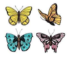 Hand drawn vector illustration - Butterflies collection. Summer edition. Perfect for invitations, greeting cards, blogs, posters and more.