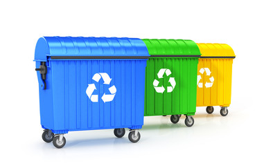 trash cans are placed in a row, blue, green, yellow garbage container, isolated on a white background. 3D illustration