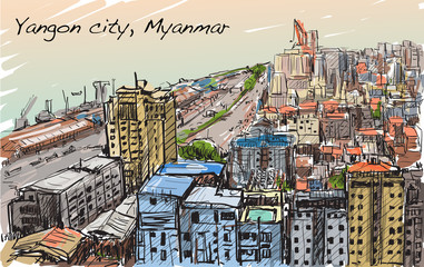 sketch cityscape of Yangon, Myanmar skyline, show building in downtown, free hand draw illustration vector