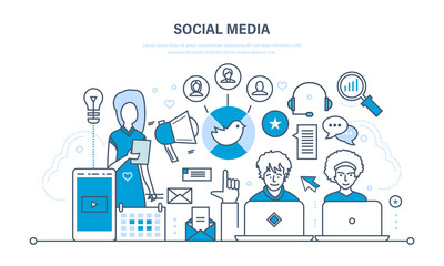 Social media concept. Communications, maintenance and support, information exchange, technology. Wall mural