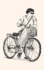 sketch of a woman walk with bicycle, free hand drawing illustration vector