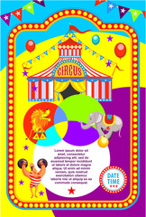 Circus poster. Trained animals, strong man with weights. Vector illustration.