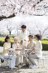 Family looking at cherry blossoms and drinking champagne
