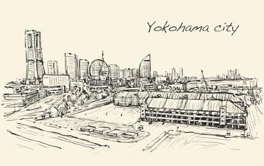 city scape skyline of Yokohama in Japan free hand drawing, vector
