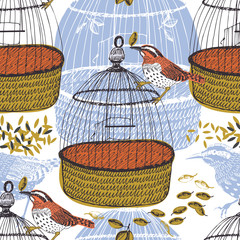 Birds and birdcages Seamless pattern