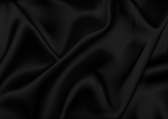 Black Satin Background - Abstract Fabric Illustration, Vector
