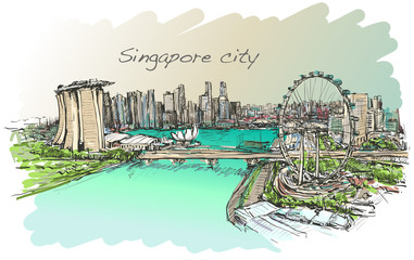 Fond de hotte en verre imprimé Pont sketch city scape,of Singapore skyline, free hand draw illustration vector