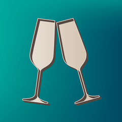 Sparkling champagne glasses. Vector. Icon printed at 3d on sea color background.