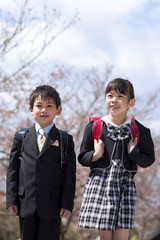 Portrait of elementary school girl and boy under cherry blossoms