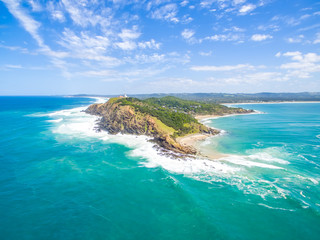 An aerial view of Byron Bay lighthouse