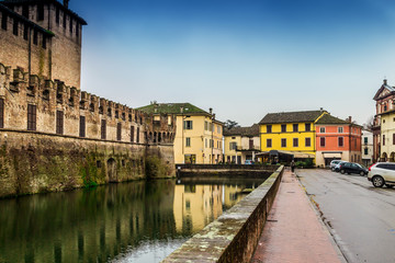 View of the moat around medieval castle of Fontanellato, Emilia Romagna, Italy.