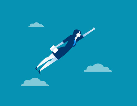 Business woman character flying through sky. Concept business illustration