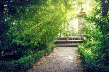 Old botanical garden with gates  in Parma, Italy.
