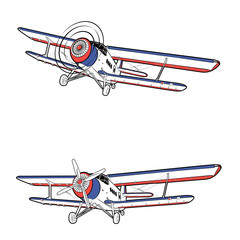 Vector illustration of a classic propeller aircraft in static and in flight on a white background
