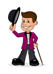 Cheerful person in a bright suit a vector illustration.