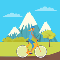 Young Girl Isolated on Bike Riding near Mountains