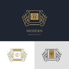 Monogram design elements, graceful template. Calligraphic elegant line art logo design. Letter emblem sign B, L, V for Royalty, business card, Boutique, Hotel, Heraldic, Jewelry. Vector illustration