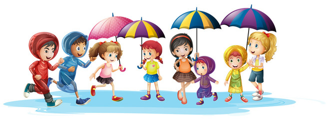 Kids in raincoats and umbrella