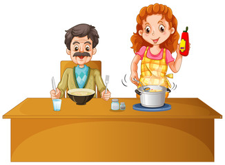 Father and mother having meal on the table