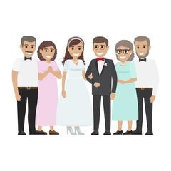 Wedding Family Together. Newlyweds Couple Design
