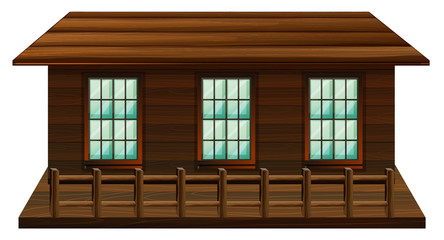 Wooden cabin with three windows