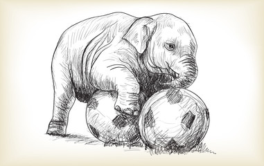 baby elephant playing football, sketch and free hand draw illustration vector