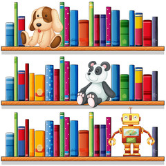 Toys and books on the shelves