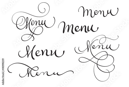 set of word menu on white. Calligraphy lettering Vector ...