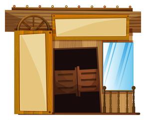 Doors on building in western style