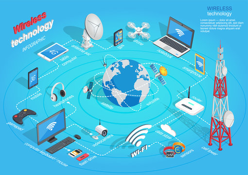 Wireless Technology Infographic Scheme on Blue