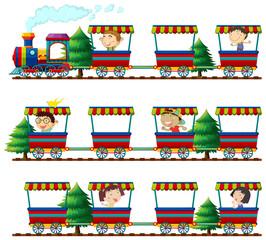 Children riding on trains