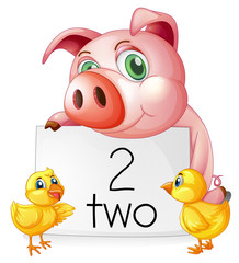 Counting number two with pig and chicks