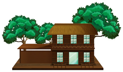 Wooden house with trees