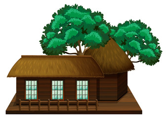 wooden hut with trees