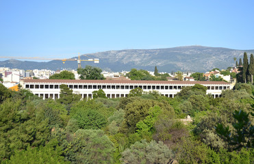 the ancient Stoa of Attalos as seen from the temple of Hephaestus Athens Greece