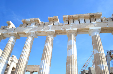 the ancient columns of Parthenon Acropolis in Athens city Greece
