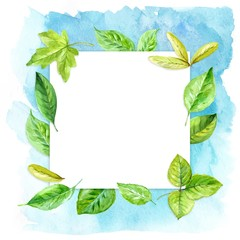 square frame made of various leaves in watercolor On a blue background. Hand-painted design elements.