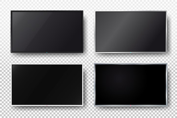 Set of tv, modern blank screen lcd, led. Vector illustration. Isolated on transparent background
