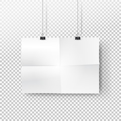white paper poster mockup with traces of the folded sheet hanging on binder. Transparent background with mock up empty paper blank. Layout mockup. Horizontal template sheet