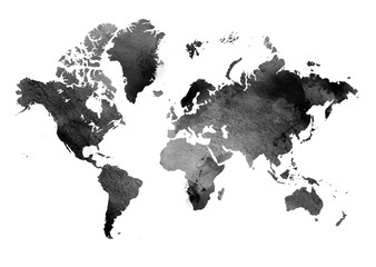 Black and white vintage map of the world. Horizontal background. Isolated object