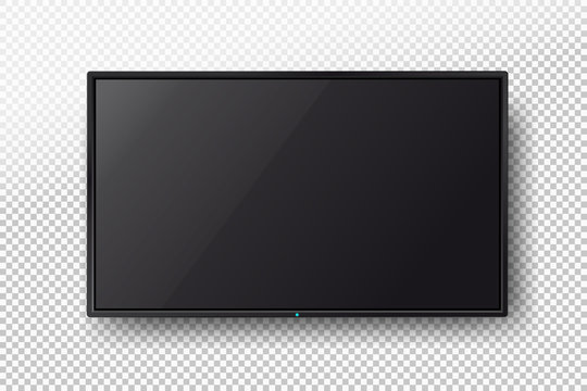 TV, modern blank screen lcd, led. Vector illustration. Isolated on transparent background.
